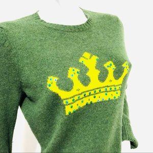 Old Navy Green Lambswool Sweater Crown Tiara Large